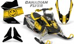 Skidoo REV XP CreatorX Graphics Kit Canadian Flyer Yellow Black 150x90 - Ski-Doo Rev XP Graphics