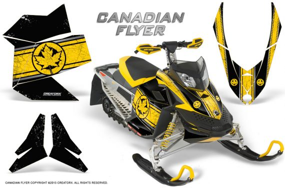 Skidoo REV XP CreatorX Graphics Kit Canadian Flyer Yellow Black 570x376 - Ski-Doo Rev XP Graphics