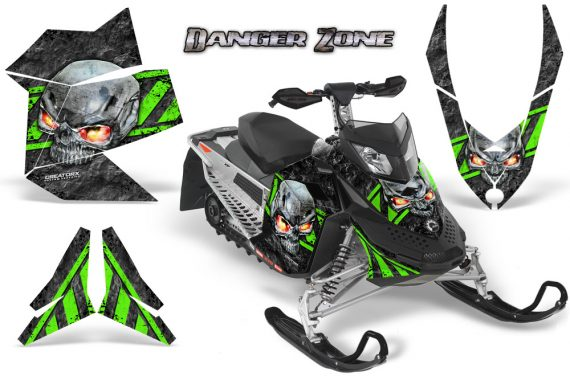 Skidoo REV XP CreatorX Graphics Kit Danger Zone Green 570x376 - Ski-Doo Rev XP Graphics