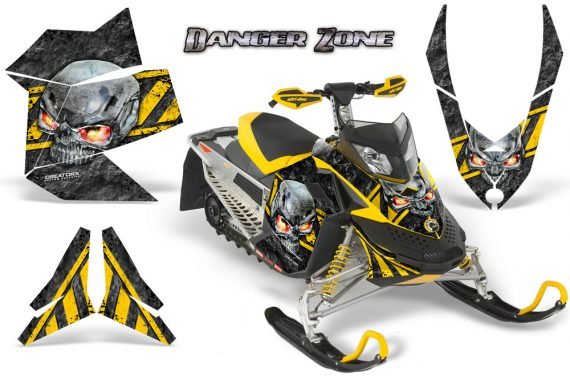 Skidoo REV XP CreatorX Graphics Kit Danger Zone Yellow 570x376 - Ski-Doo Rev XP Graphics