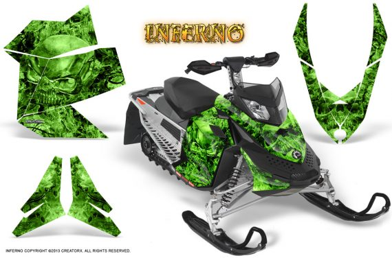 Skidoo REV XP CreatorX Graphics Kit Inferno Green 570x376 - Ski-Doo Rev XP Graphics