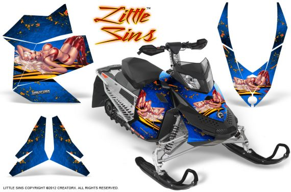 Skidoo REV XP CreatorX Graphics Kit Little Sins Blue 570x376 - Ski-Doo Rev XP Graphics