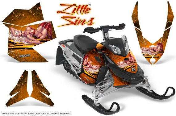 Skidoo REV XP CreatorX Graphics Kit Little Sins Orange 570x376 - Ski-Doo Rev XP Graphics