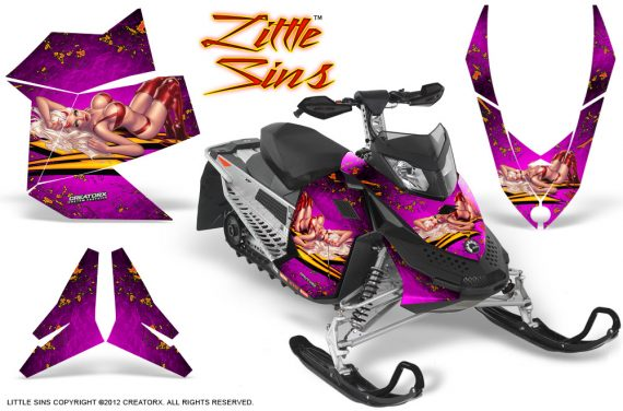 Skidoo REV XP CreatorX Graphics Kit Little Sins Pink 570x376 - Ski-Doo Rev XP Graphics