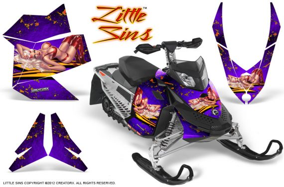 Skidoo REV XP CreatorX Graphics Kit Little Sins Purple 570x376 - Ski-Doo Rev XP Graphics