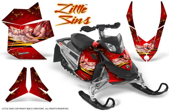 Skidoo REV XP CreatorX Graphics Kit Little Sins Red 570x376 - Ski-Doo Rev XP Graphics