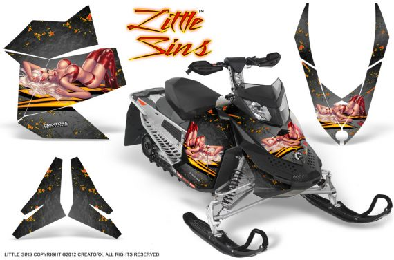 Skidoo REV XP CreatorX Graphics Kit Little Sins Silver 570x376 - Ski-Doo Rev XP Graphics