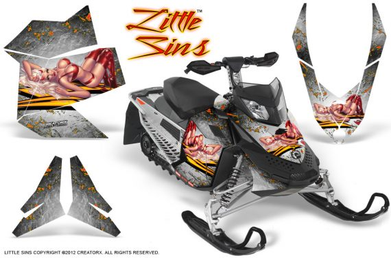 Skidoo REV XP CreatorX Graphics Kit Little Sins White 570x376 - Ski-Doo Rev XP Graphics