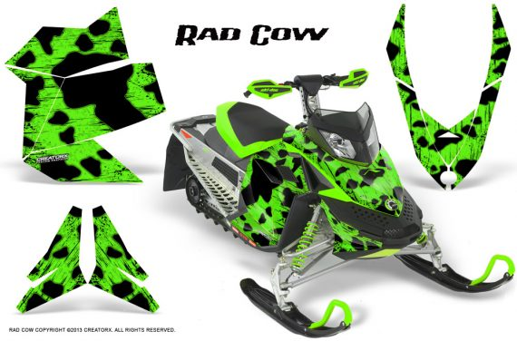 Skidoo REV XP CreatorX Graphics Kit Rad Cow Green 570x376 - Ski-Doo Rev XP Graphics