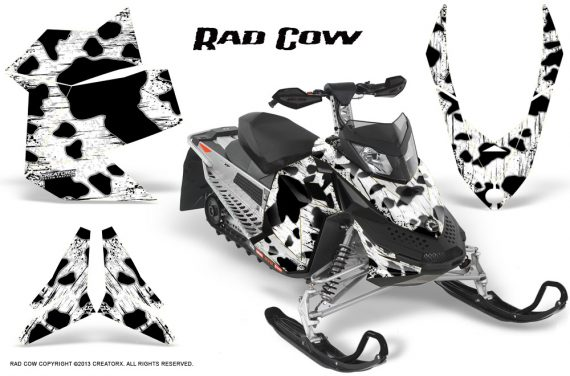 Skidoo REV XP CreatorX Graphics Kit Rad Cow White 570x376 - Ski-Doo Rev XP Graphics