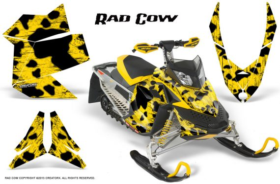 Skidoo REV XP CreatorX Graphics Kit Rad Cow Yellow 570x376 - Ski-Doo Rev XP Graphics