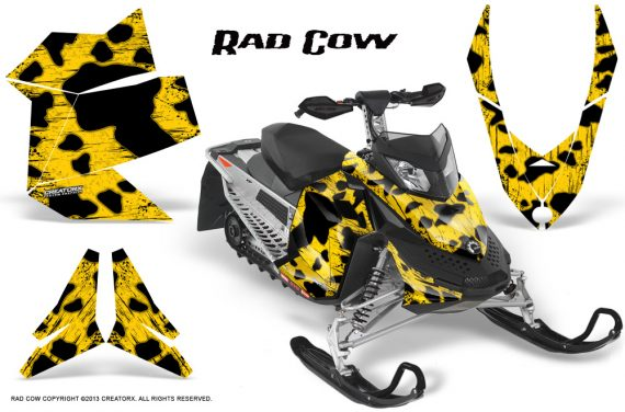 Skidoo REV XP CreatorX Graphics Kit Rad Cow Yellow BB 570x376 - Ski-Doo Rev XP Graphics
