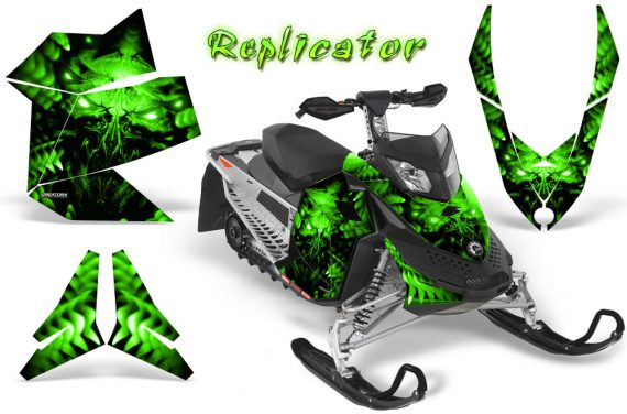 Skidoo REV XP CreatorX Graphics Kit Replicator Green 570x376 - Ski-Doo Rev XP Graphics
