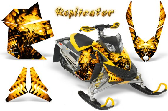 Skidoo REV XP CreatorX Graphics Kit Replicator Yellow 570x376 - Ski-Doo Rev XP Graphics