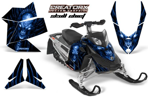 Skidoo REV XP CreatorX Graphics Kit Skull Chief Blue 570x376 - Ski-Doo Rev XP Graphics