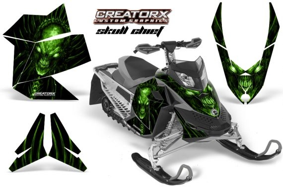 Skidoo REV XP CreatorX Graphics Kit Skull Chief Green 570x376 - Ski-Doo Rev XP Graphics