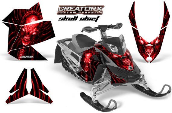 Skidoo REV XP CreatorX Graphics Kit Skull Chief Red 570x376 - Ski-Doo Rev XP Graphics