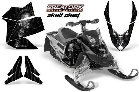 Skidoo REV XP CreatorX Graphics Kit Skull Chief Silver 570x376 - Ski-Doo Rev XP Graphics