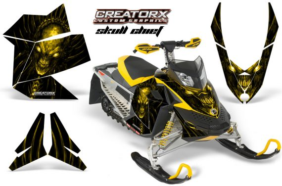 Skidoo REV XP CreatorX Graphics Kit Skull Chief Yellow 570x376 - Ski-Doo Rev XP Graphics