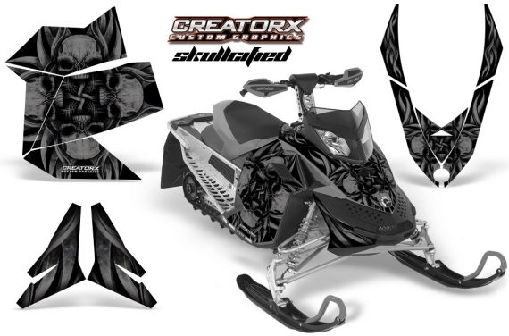 Skidoo REV XP CreatorX Graphics Kit Skullcified Black 570x376 - Ski-Doo Rev XP Graphics