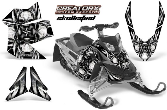 Skidoo REV XP CreatorX Graphics Kit Skullcified Silver 570x376 - Ski-Doo Rev XP Graphics