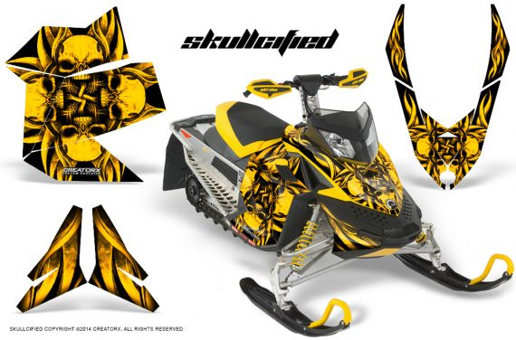 Skidoo REV XP CreatorX Graphics Kit Skullcified Yellow 570x376 - Ski-Doo Rev XP Graphics