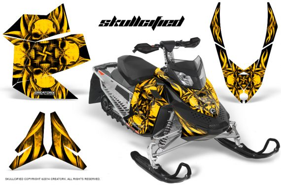 Skidoo REV XP CreatorX Graphics Kit Skullcified Yellow BB 570x376 - Ski-Doo Rev XP Graphics