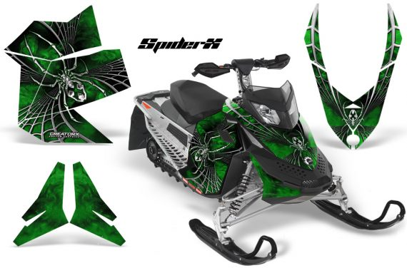 Skidoo REV XP CreatorX Graphics Kit SpiderX Green 570x376 - Ski-Doo Rev XP Graphics