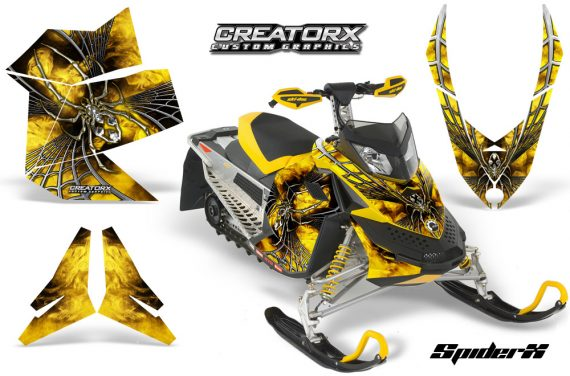 Skidoo REV XP CreatorX Graphics Kit SpiderX Yellow 570x376 - Ski-Doo Rev XP Graphics
