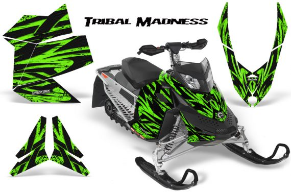 Skidoo REV XP CreatorX Graphics Kit Tribal Madness Green 570x376 - Ski-Doo Rev XP Graphics