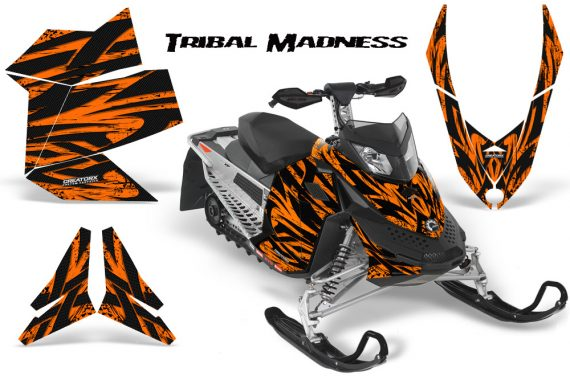 Skidoo REV XP CreatorX Graphics Kit Tribal Madness Orange 570x376 - Ski-Doo Rev XP Graphics