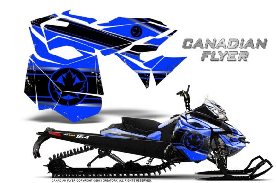 Skidoo RevXM CreatorX Graphics Kit Canadian Flyer Black Blue 570x376 - Ski-Doo Can-Am Rev XM 2013-2017 Graphics