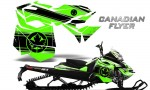 Skidoo RevXM CreatorX Graphics Kit Canadian Flyer Black Green 150x90 - Ski-Doo Can-Am Rev XM 2013-2017 Graphics