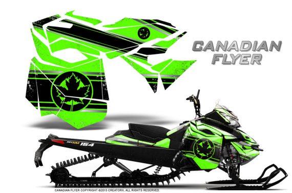 Skidoo RevXM CreatorX Graphics Kit Canadian Flyer Black Green 570x376 - Ski-Doo Can-Am Rev XM 2013-2017 Graphics
