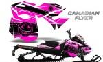 Skidoo RevXM CreatorX Graphics Kit Canadian Flyer Black Pink 150x90 - Ski-Doo Can-Am Rev XM 2013-2017 Graphics
