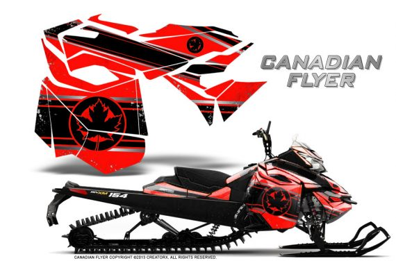Skidoo RevXM CreatorX Graphics Kit Canadian Flyer Black Red 570x376 - Ski-Doo Can-Am Rev XM 2013-2017 Graphics