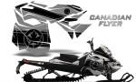 Skidoo RevXM CreatorX Graphics Kit Canadian Flyer Black Silver 150x90 - Ski-Doo Can-Am Rev XM 2013-2017 Graphics