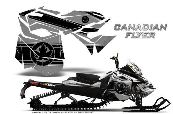 Skidoo RevXM CreatorX Graphics Kit Canadian Flyer Black Silver 570x376 - Ski-Doo Can-Am Rev XM 2013-2017 Graphics