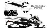 Skidoo RevXM CreatorX Graphics Kit Canadian Flyer Black White 150x90 - Ski-Doo Can-Am Rev XM 2013-2017 Graphics