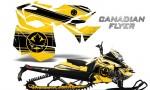 Skidoo RevXM CreatorX Graphics Kit Canadian Flyer Black Yellow 150x90 - Ski-Doo Can-Am Rev XM 2013-2017 Graphics