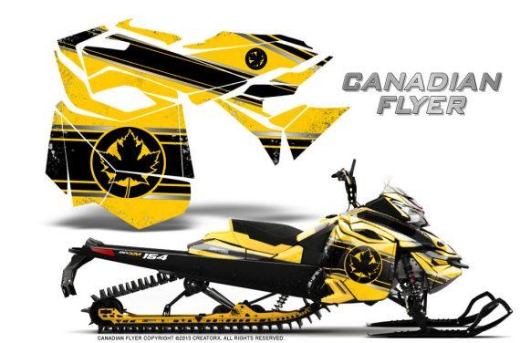 Skidoo RevXM CreatorX Graphics Kit Canadian Flyer Black Yellow 570x376 - Ski-Doo Can-Am Rev XM 2013-2017 Graphics