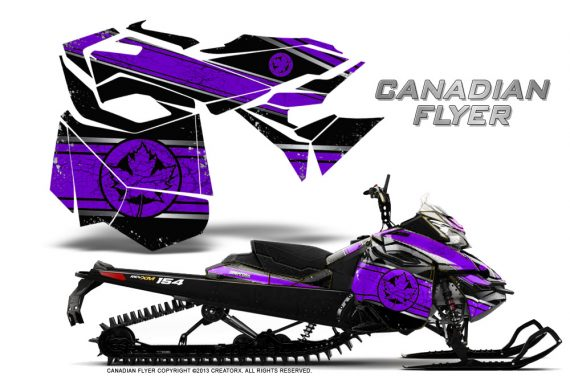 Skidoo RevXM CreatorX Graphics Kit Canadian Flyer Purple Black 570x376 - Ski-Doo Can-Am Rev XM 2013-2017 Graphics