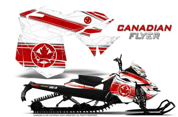 Skidoo RevXM CreatorX Graphics Kit Canadian Flyer Red White 570x376 - Ski-Doo Can-Am Rev XM 2013-2017 Graphics