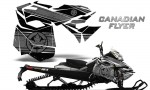 Skidoo RevXM CreatorX Graphics Kit Canadian Flyer Silver Black BB 150x90 - Ski-Doo Can-Am Rev XM 2013-2017 Graphics