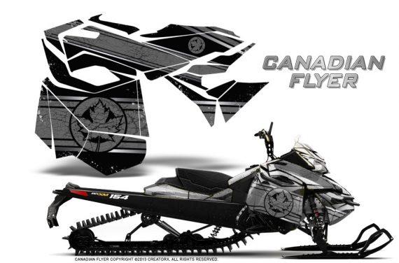 Skidoo RevXM CreatorX Graphics Kit Canadian Flyer Silver Black BB 570x376 - Ski-Doo Can-Am Rev XM 2013-2017 Graphics