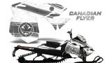 Skidoo RevXM CreatorX Graphics Kit Canadian Flyer Silver White 150x90 - Ski-Doo Can-Am Rev XM 2013-2017 Graphics