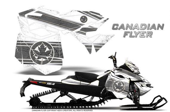Skidoo RevXM CreatorX Graphics Kit Canadian Flyer Silver White 570x376 - Ski-Doo Can-Am Rev XM 2013-2017 Graphics
