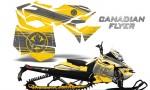 Skidoo RevXM CreatorX Graphics Kit Canadian Flyer Silver Yellow 150x90 - Ski-Doo Can-Am Rev XM 2013-2017 Graphics