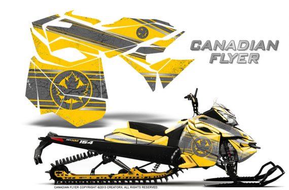 Skidoo RevXM CreatorX Graphics Kit Canadian Flyer Silver Yellow 570x376 - Ski-Doo Can-Am Rev XM 2013-2017 Graphics