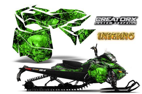 Skidoo RevXM CreatorX Graphics Kit Inferno Green 570x376 - Ski-Doo Can-Am Rev XM 2013-2017 Graphics